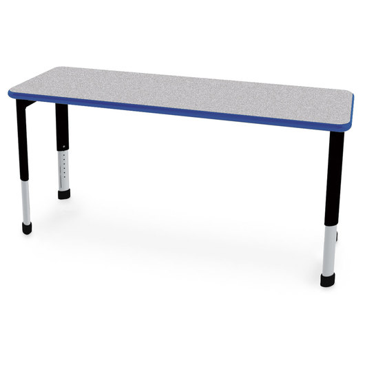 Interchange™ Rectangle Desk - 2-Student Desk - Gray Nebula Top - Persian Blue Edges