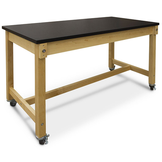 Hann Maple Mobile Project Collaboration Table - HPL Top - 60 in. W x 30 in. D x 36 in. H