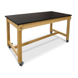 Hann Maple Mobile Project Collaboration Table - Epoxy Resin Top - 72 in. W x 30 in. D x 36 in. H