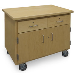Mobile Project Support Cart with Lockable Drawers and Lockable Doors with Storage Trays - 36 in. W x 23 in. D x 30 in. H - 4 in. Casters