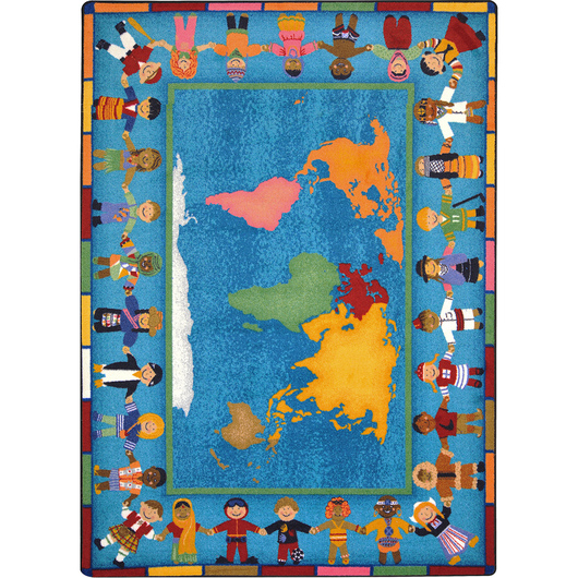Joy Classroom Carpet - Hands Around the World™ - 5 ft. 4 in. x 7 ft. 8 in.
