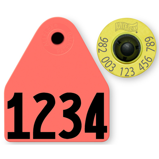 Allflex® HDX EID 982 Fair Sheep/Goat Panel and Button Tag with Custom Management Number - Red