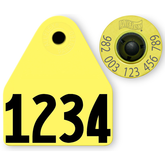 Allflex® HDX EID 982 Fair Sheep/Goat Panel and Button Tag with Custom Management Number - Yellow