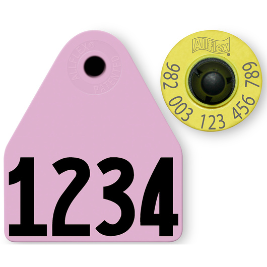 Allflex® HDX EID 982 Fair Sheep/Goat Panel and Button Tag with Custom Management Number - Purple