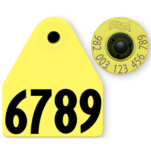 Allflex® HDX EID 982 Fair Sheep/Goat Panel and Button Tag with Last 4 Digits of EID Number - Yellow