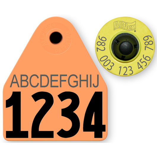 Allflex® HDX EID 982 Fair Sheep/Goat Panel and Button Tag with Custom Management Number and 10-Character Personalization - Orange