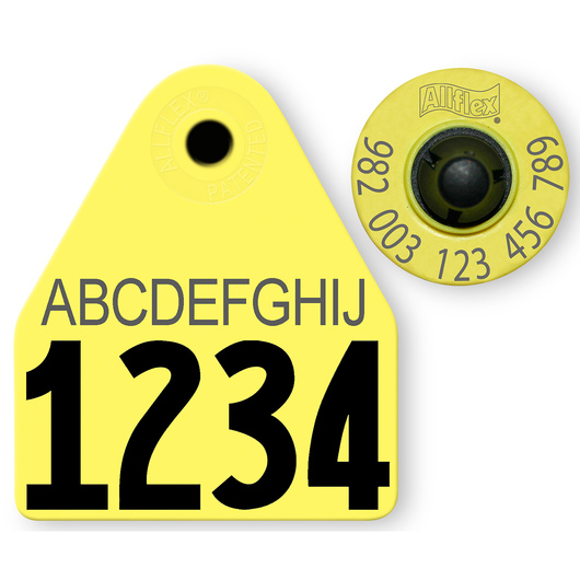 Allflex® HDX EID 982 Fair Sheep/Goat Panel and Button Tag with Custom Management Number and 10-Character Personalization - Yellow
