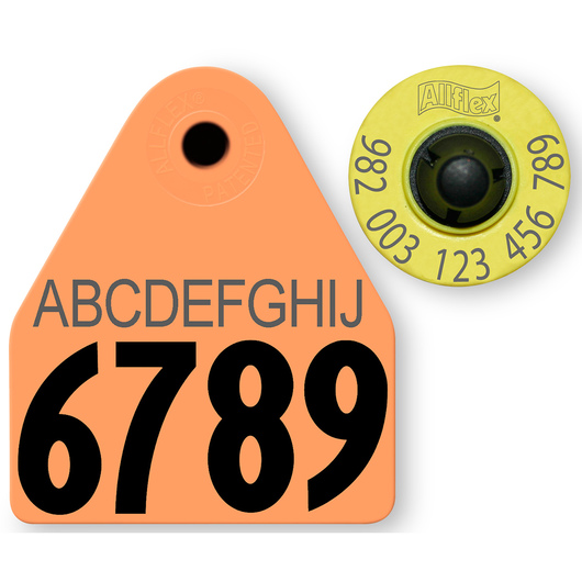 Allflex® HDX EID 982 Fair Sheep/Goat Panel and Button Tag with Last 4 Digits of EID Number and 10-Character Personalization - Orange