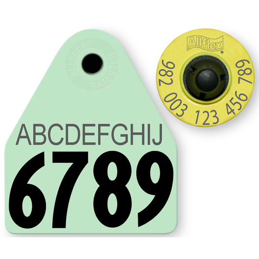 Allflex® HDX EID 982 Fair Sheep/Goat Panel and Button Tag with Last 4 Digits of EID Number and 10-Character Personalization - Green
