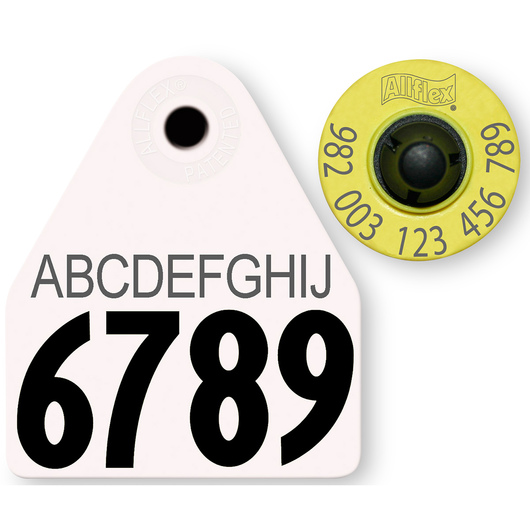 Allflex® HDX EID 982 Fair Sheep/Goat Panel and Button Tag with Last 4 Digits of EID Number and 10-Character Personalization - White