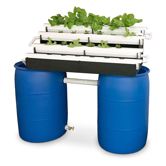 Aquaponics Grow Rack with Fish Barrels