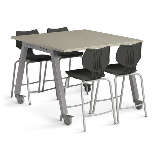 Planner Studio Table - 48 in. W x 36 in. H x 48 in. D - Pewter Mesh Top