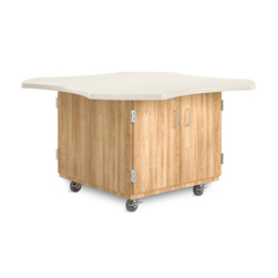 Intermix Clover Leaf Mobile Table - Double-Sided Table with Double Door Cabinet, Solid Oak