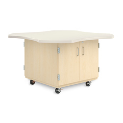 Intermix Clover Leaf Mobile Table - Double-Sided Table with Double Door Cabinet, Maple Veneers