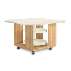 Intermix Clover Leaf Mobile Table - Table with Lazy Susan - Solid Oak