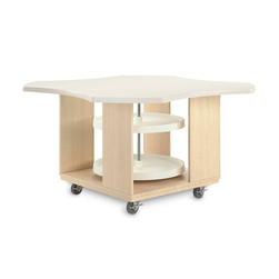 Intermix Clover Leaf Mobile Table - Table with Lazy Susan - Maple Veneers
