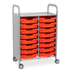 Gratnells Callero Plus Double Carts - With 16 Shallow Trays