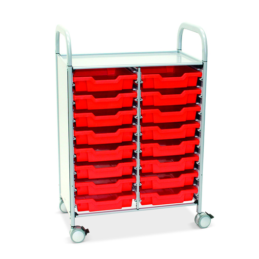 Gratnells Callero Plus Double Carts - With 16 Shallow Trays - Flame Red