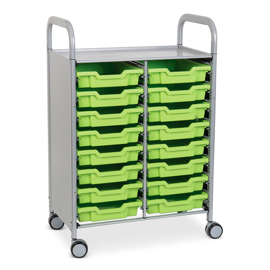 Gratnells Callero Plus Double Carts - With 16 Shallow Trays - Jolly Lime
