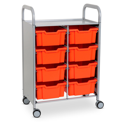 Gratnells Callero Plus Double Carts - With 8 Deep Trays - Tropical Orange