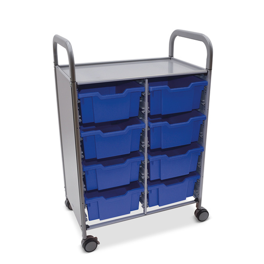Gratnells Callero Plus Double Carts - With 8 Deep Trays - Royal Blue