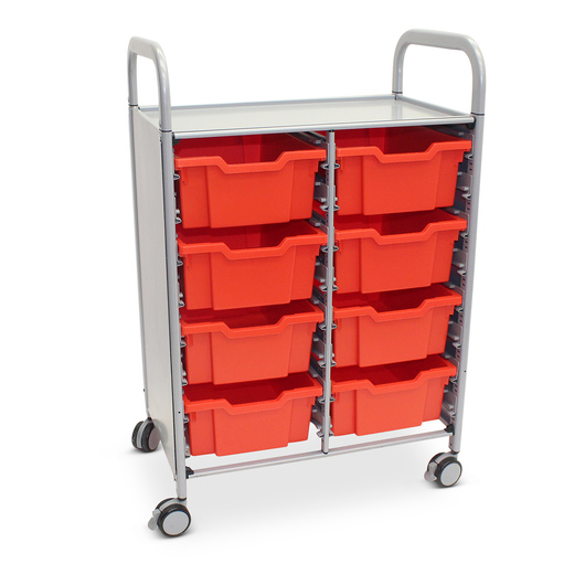 Gratnells Callero Plus Double Carts - With 8 Deep Trays - Flame Red