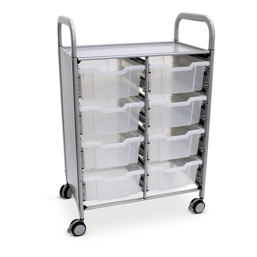 Gratnells Callero Plus Double Carts - With 8 Deep Trays - Translucent