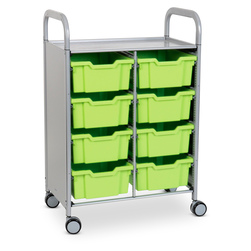Gratnells Callero Plus Double Carts - With 8 Deep Trays - Jolly Lime