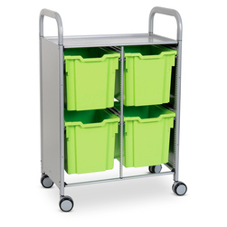 Gratnells Callero Plus Double Carts - With 4 Jumbo Trays - Jolly Lime