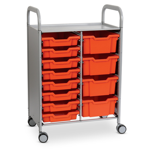 Gratnells Callero Plus Double Carts - With 8 Shallow Trays and 4 Deep Trays - Tropical Orange