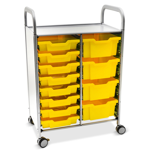 Gratnells Callero Plus Double Carts - With 8 Shallow Trays and 4 Deep Trays - Sunshine Yellow