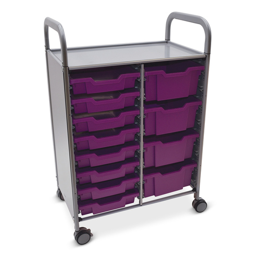Gratnells Callero Plus Double Carts - With 8 Shallow Trays and 4 Deep Trays - Plum Purple