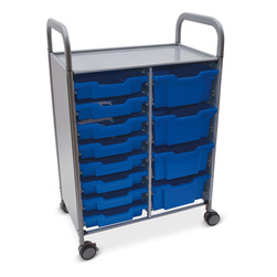 Gratnells Callero Plus Double Carts - With 8 Shallow Trays and 4 Deep Trays - Royal Blue