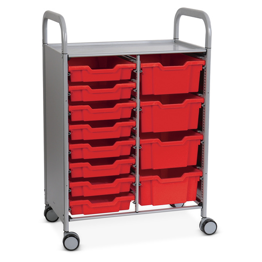 Gratnells Callero Plus Double Carts - With 8 Shallow Trays and 4 Deep Trays - Flame Red