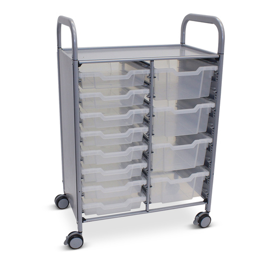 Gratnells Callero Plus Double Carts - With 8 Shallow Trays and 4 Deep Trays - Translucent