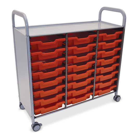 Gratnells Callero Plus Treble Carts - With 24 Shallow Trays - Flame Red