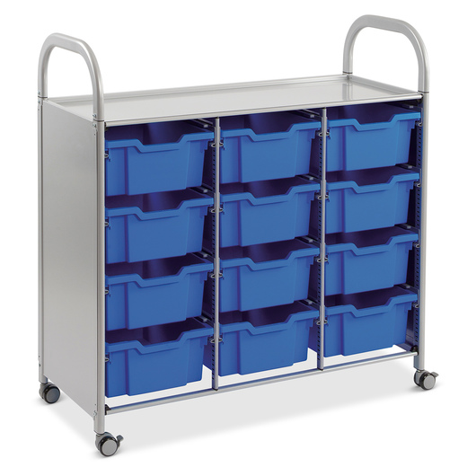 Gratnells Callero Plus Treble Carts - With 12 Deep Trays - Royal Blue