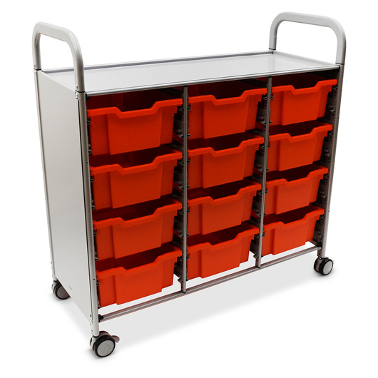 Gratnells Callero Plus Treble Carts - With 12 Deep Trays - Flame Red