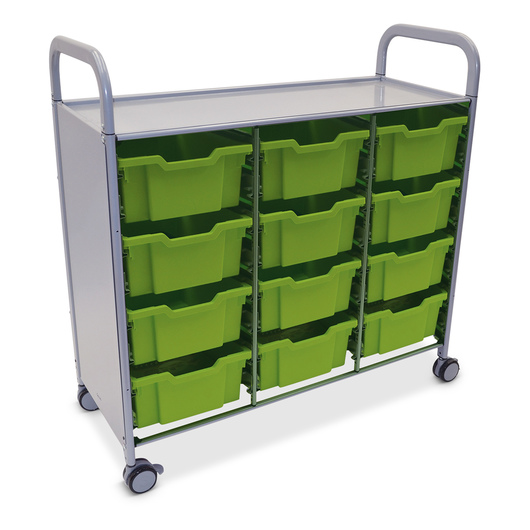 Gratnells Callero Plus Treble Carts - With 12 Deep Trays - Jolly Lime