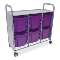 Gratnells Callero Plus Treble Carts - With 6 Jumbo Trays - Plum Purple