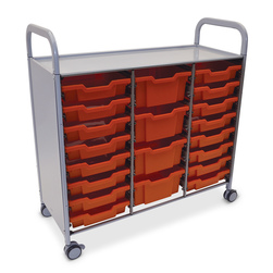 Gratnells Callero Plus Treble Carts - With 16 Shallow Trays and 4 Deep Trays