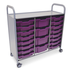 Gratnells Callero Plus Treble Carts - With 16 Shallow Trays and 4 Deep Trays - Plum Purple
