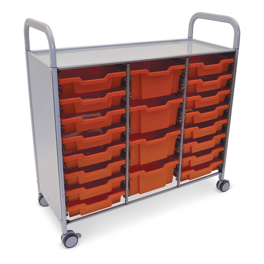 Gratnells Callero Plus Treble Carts - With 16 Shallow Trays and 4 Deep Trays - Flame Red