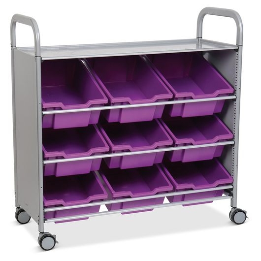 Gratnells Callero Plus Treble Carts - With 9 Deep Tilted Trays - Plum Purple