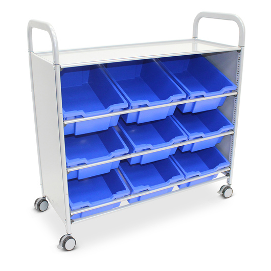 Gratnells Callero Plus Treble Carts - With 9 Deep Tilted Trays - Royal Blue