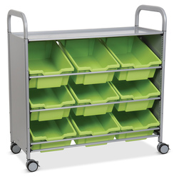 Gratnells Callero Plus Treble Carts - With 9 Deep Tilted Trays - Jolly Lime