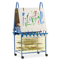 Deluxe Double-Sided Art Easel with Built-In Drying Racks