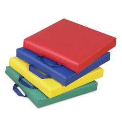 Soft Classroom Square Floor Seating Cushions in Primary Colors