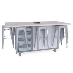 Ed8 Table - 36 in. High Table with 24 in. High Stool - Silver