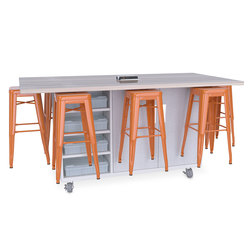 Ed8 Table - 42 in. High Table with 30 in. High Stool - Orange